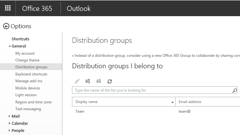 Managing Distribution Groups via the new OWA settings page